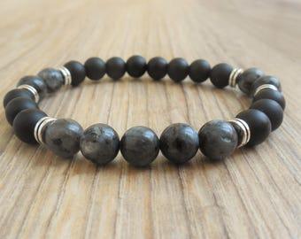 mens beaded bracelet mens bracelet black gemstone bracelet for men onyx bracelet mens onyx jewelry for men gift for him larvikite bracelet