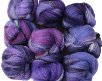 Purple Moon -- mini batts (2 oz.) organic polwarth wool, bamboo, silk, sparkle.
