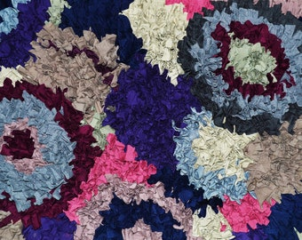 85x55cm handmade abstract circles rag rug from recycled materials