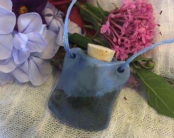 Misty blue bottle/amphora necklace