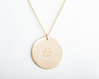 "Extra Large Round Disc Necklace, 1 1/8"", 28mm, Gold Filled, Sterling Silver, Rose Gold Filled"