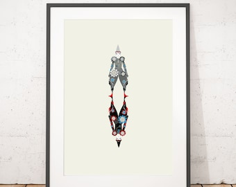 The Blue Clown. A Bowie Inspired Illustrated Art Print. Illustration poster, Matte and Giclee Art Prints. Wall Art, Movie Prints