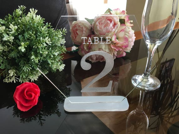 Clear Acrylic Table Numbers Hexagon Reception Wedding Table Centerpieces Clear Engraved Geometric Laser Cut Number Freestanding Wedding sign