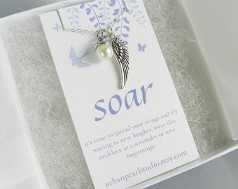 Silver Wing Necklace Inspirational Jewelry Divorce Spread Your Wings Soar Gift for Friend Grief Motivational Jewelry