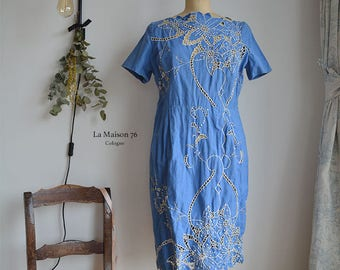 Vintage German Lady Summerdress with cut out lace trims and special garment 40-50s
