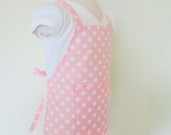 Childrens Apron - Pretty Pale Pink Polka Dot Retro Kids Apron - A fun apron to cook, paint, or create arts ad crafts in, a chefs delight