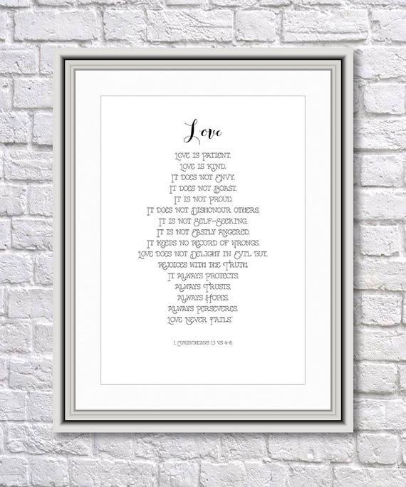 Wedding Reading Love Is Patient: Wedding Print Love Is Patient Love Is Kind Bible Print
