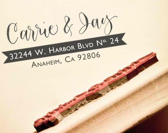 Personalized Calligraphy Return Address Stamp -- Custom Handwritten Calligraphy -- Elle Style with Banner - Self-inking Stamp or Wood Stamp