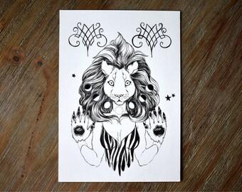 Lunar Lioness Original Drawing