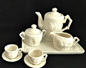 Vintage Porcelain Bisque Child Doll Tea Set White Roses 10 Piece Set