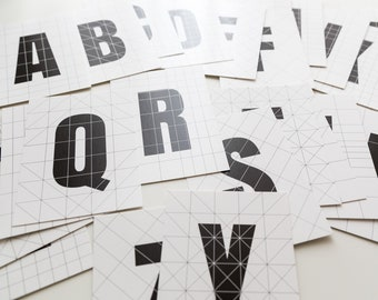 Whole Alphabet Postcard Set - black and white letters and grid - all 26 letters - minimal typography cards - geometric cubist bauhaus style