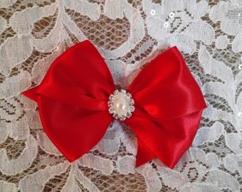 Red Satin Hair Bow with Rhinestone and Pearl Center, Red Flower Girl Hair Bow, Pageant Hair Bow, Christmas Bow