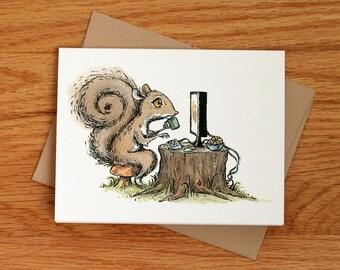 Computer Squirrel, individual greeting card
