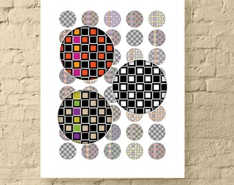 """1"""" Round Printable Collage Sheet / Geometric Multi-Colored Checkered Boxes / 1 Inch Circle Digital Download for Jewelry & Crafts"""