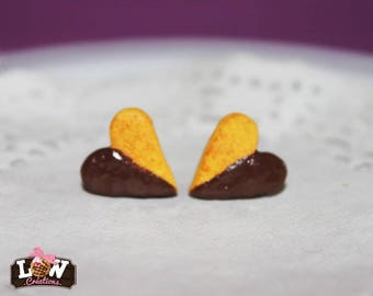 "Earring studs - Cookie ""heart"" and the chocolate ganache"