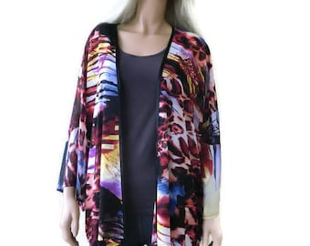 Wild sunset chiffon kimono with wide sleeves- Boho Kimono- Designer print, Plus size kimono -Chiffon collection-only one is available
