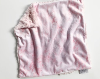 Pink marble lovey security blanket, Baby lovey security Blanket, minky Baby Blanket, Woodland Nursery, Forest Nursery, baby shower gift