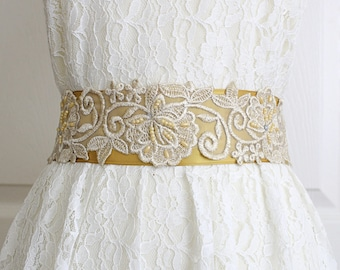 Pearl Beaded Light Gold Embroidery Lace Sash, Bridal Gold Sash, Bridesmaid Sash, Flower Girl Sash, Wedding Gold Sash Belt