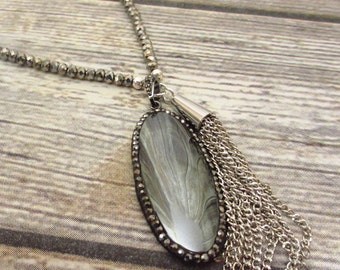 Hematite, Tassel necklace, Gray, Silver, Natural Stone, Double chain.