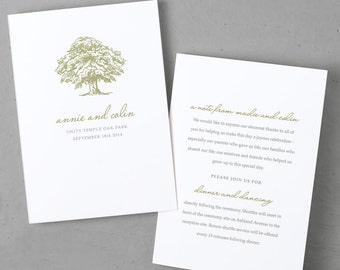 Printable Wedding Program Template   Instant DOWNLOAD   Oak Tree   Folded 5x7   Editable Text   Word or Pages    Easy DIY   Editable Colors