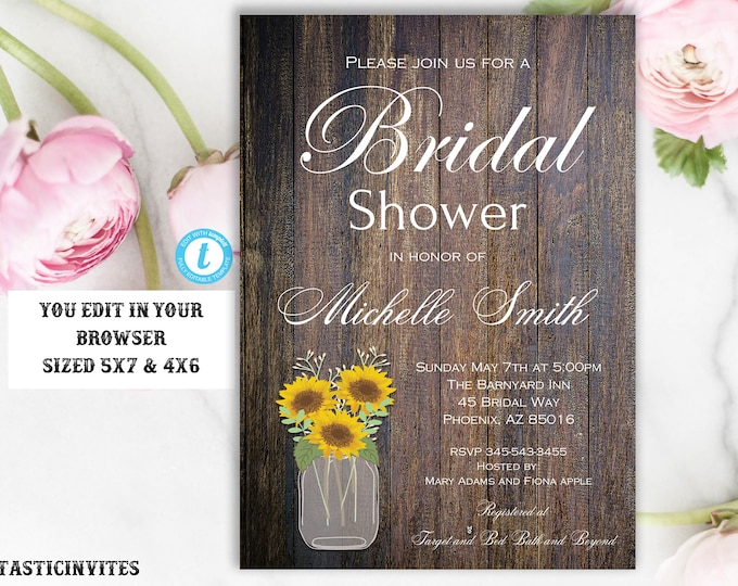Sunflower Rustic Bridal Shower Invitation Template, Editable, Printable, Sunflower Bridal Shower, Bridal Shower Invitation, INSTANT DOWNLOAD