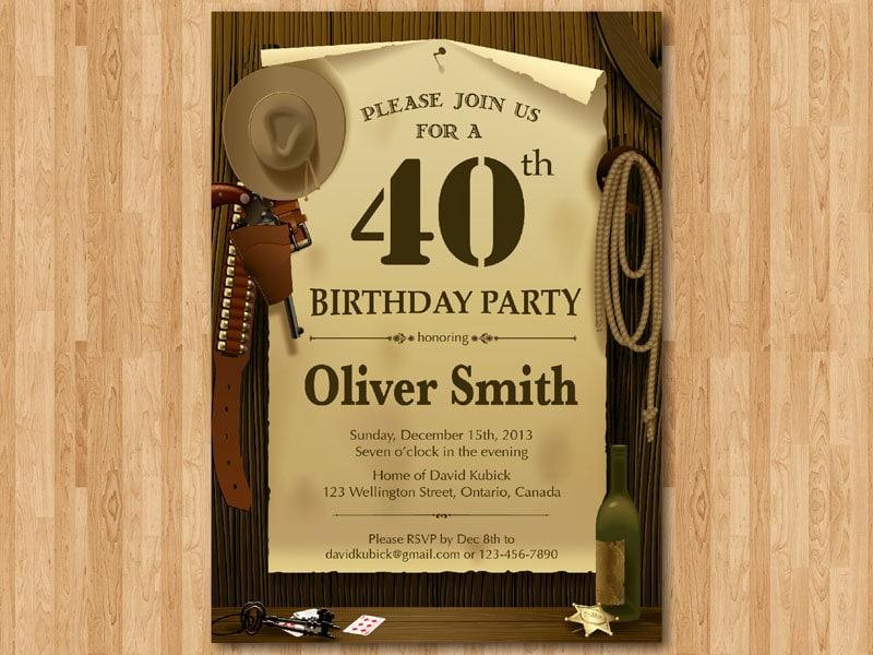 40th Western Birthday Invitation. 30th 40th 50th 60th 70th