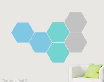 Hexagons Wall Decal, Honeycomb Sticker Geometric Wall Art, Australian Made