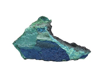 Cornetite Rare Blue Crystalline Druzy on chrysocolla malachite rock matrix Copper Mineral Specimen from Congo Africa Collector's Select