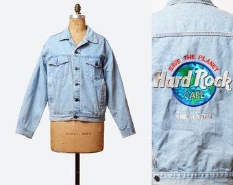 Vintage 90s HARD ROCK Cafe Orlando Jean Jacket Grunge Biker Save The Planet Coat Trucker 1990s Blue Denim Embroidered Jacket medium large