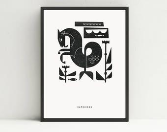 Capricorn Letterpress Print