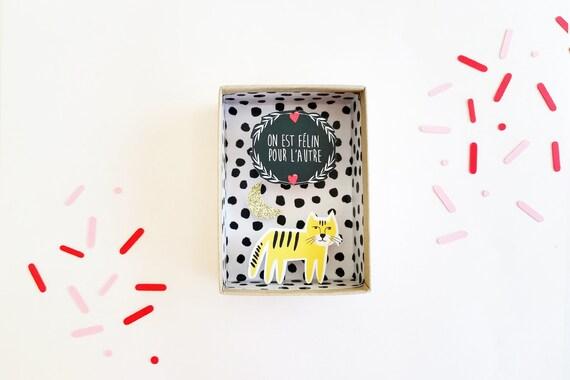 On est félin pour l'autre message box / Miniature Art / Diorama / 3d Art / Decorative Matchbox / Miniature paper diorama / Love gift