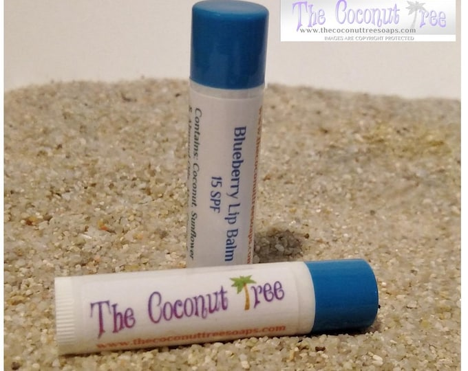 Blueberry Flavor Lip Balm / All Natural Lip Balm / Coconut Oil / Shea Butter / Cocoa Butter / SPF Lip Balm / No Animal by products