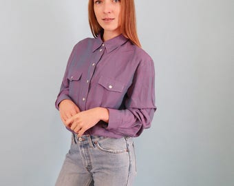 Vintage Purple Blouse/Iridescent 90s Blouse