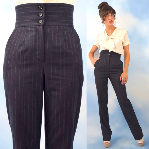 Vintage 90s DOLCE and GABBANA Charcoal Grey Ultra High Waisted Pin Striped Wool and Cashmere Straight Legged Trousers (size small)