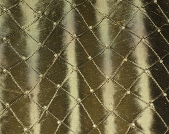 "Antique Gold Pintuck Diamond Dupioni Shantung w/ Embroidery 100% Silk Fabric, 50"" Wide, (EB-805E)"