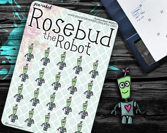 Rosebud Masks - #000211, Planner Stickers, Robot, Small, Tiny, Facemask, Skin Care, Self Care, Personal Time, Relaxing, Health and Beauty