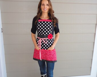 """Cherry Berry Red - """"Pockets & More Style""""  Women's  Apron  - 4RetroSisters"""