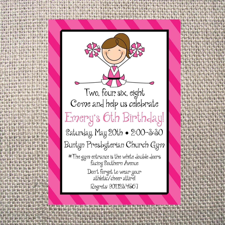 PRINTED or DIGITAL   Pink Cheer Cheerleader   Birthday Party ...