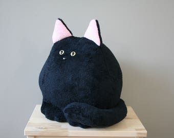 Smittens kitten, fat cat plushie, black, ready to ship
