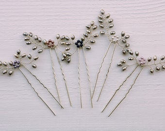 Swarovski pearl and silver floral-inspired hair pins