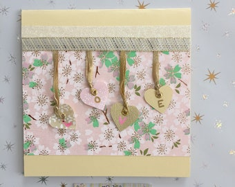 Romance card or Valentine LOVE pink/green/gold