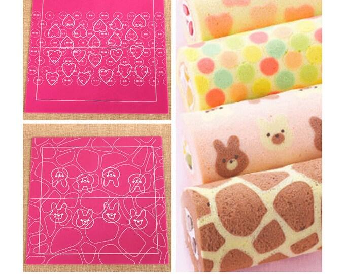 Pink Swiss Cake Design Pattern Mat Heart Circle Bear Animal Print - Silicone Cake Mold Baking Chocolate Number Letter Shape DIY