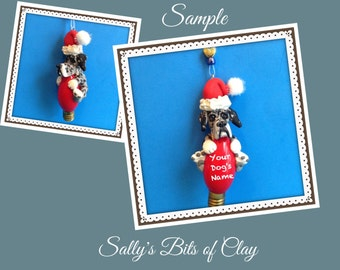 Blue Merle Great Dane Natural Ears  Santa DOG Christmas Light Bulb Ornament Sally's Bits of Clay PERSONALIZED FREE with dog's name