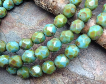 Opaque Turquoise Blue Golden Picasso Faceted Fire Polish 4mm Czech Glass Beads