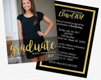 Gold Glitter Photo Graduation Announcement or Party Invitation - Printable