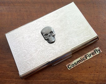 Metal business card case silver skull crossbones silver card business card case metal skull vintage inspired gothic victorian steampunk style slim wallet silver plated business colourmoves Choice Image