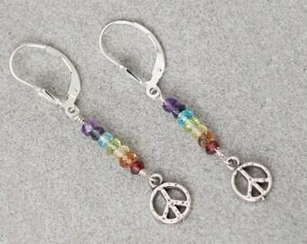CHAKRA Stones / Chakra earrings / Sterling Silver PEACE SIGN Earrings / Chakra Jewelry / Chakra Stone Set / Chakra Crystals