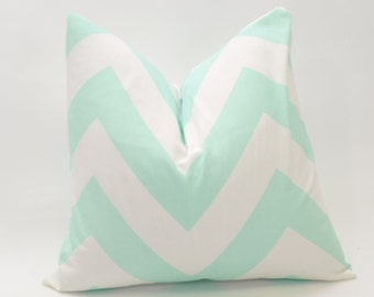 Mint  Decorative Throw Pillow Cover Large Chevron Print - 10 Cushion Cover Sizes Available including 18 x 18 and 20 x 20