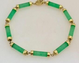"14K Yellow Gold Green Jade Link Bracelet 7.5"""