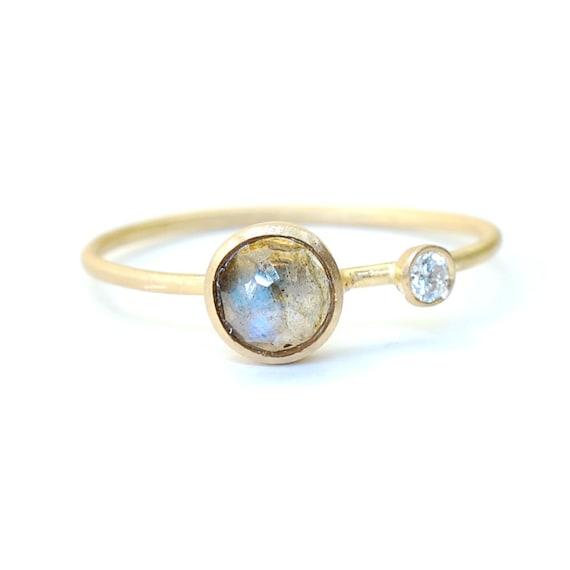 Rose Cut Labradorite Ring Labradorite and Diamond Ring